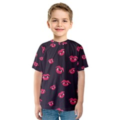 Pattern Of Vampire Mouths And Fangs Kids  Sport Mesh Tee