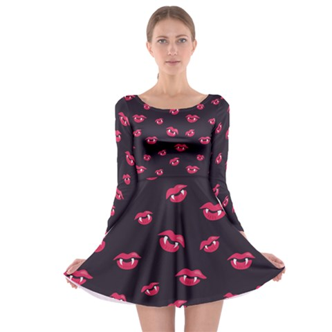 Pattern Of Vampire Mouths And Fangs Long Sleeve Skater Dress