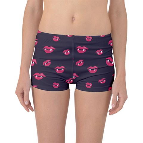 Pattern Of Vampire Mouths And Fangs Boyleg Bikini Bottoms