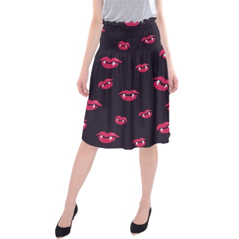 Pattern Of Vampire Mouths And Fangs Midi Beach Skirt