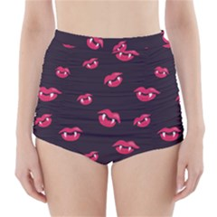Pattern Of Vampire Mouths And Fangs High-Waisted Bikini Bottoms