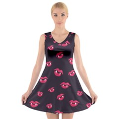 Pattern Of Vampire Mouths And Fangs V-Neck Sleeveless Skater Dress