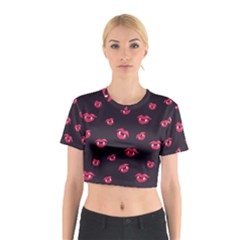 Pattern Of Vampire Mouths And Fangs Cotton Crop Top