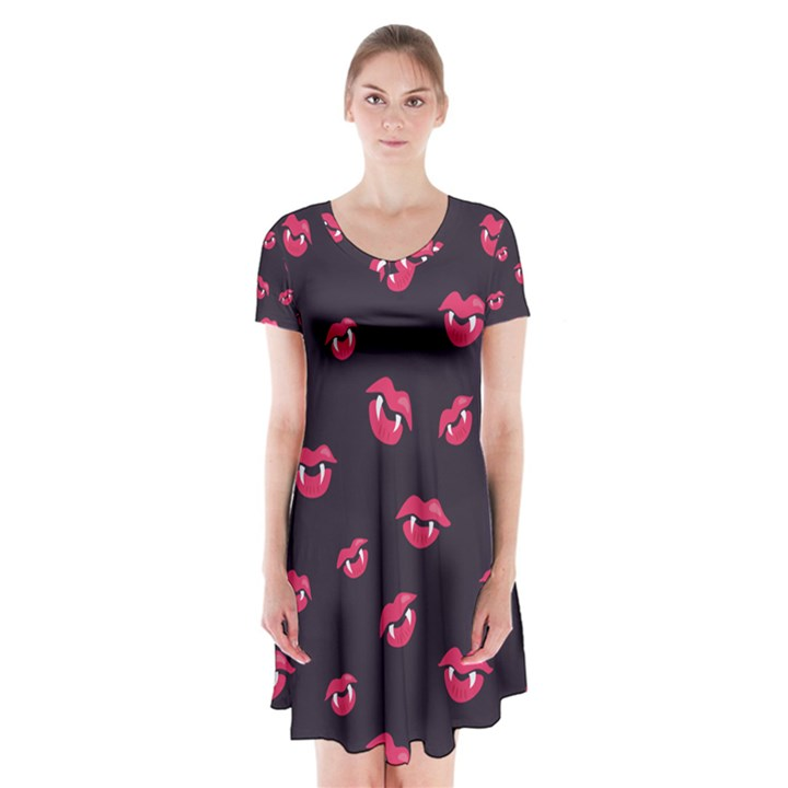 Pattern Of Vampire Mouths And Fangs Short Sleeve V-neck Flare Dress