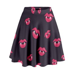 Pattern Of Vampire Mouths And Fangs High Waist Skirt
