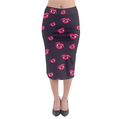 Pattern Of Vampire Mouths And Fangs Midi Pencil Skirt