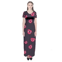 Pattern Of Vampire Mouths And Fangs Short Sleeve Maxi Dress