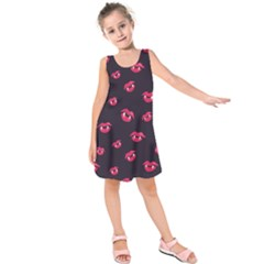 Pattern Of Vampire Mouths And Fangs Kids  Sleeveless Dress