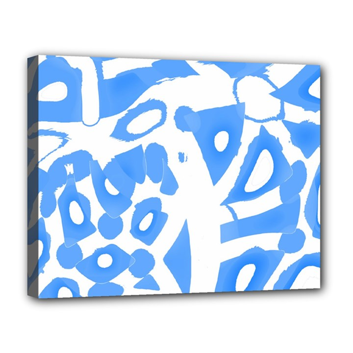 Blue summer design Canvas 14  x 11