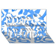 Blue summer design Happy Birthday 3D Greeting Card (8x4)