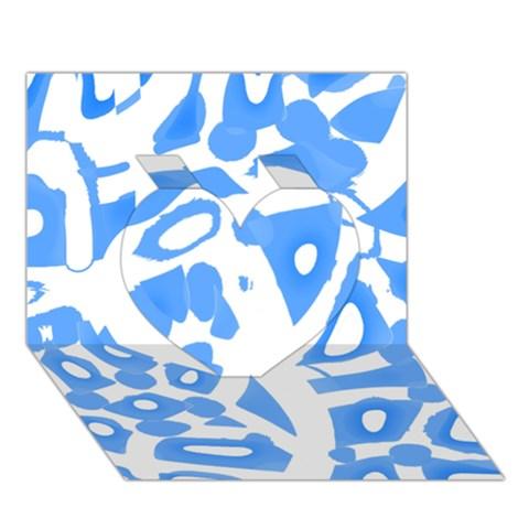 Blue summer design Heart 3D Greeting Card (7x5)