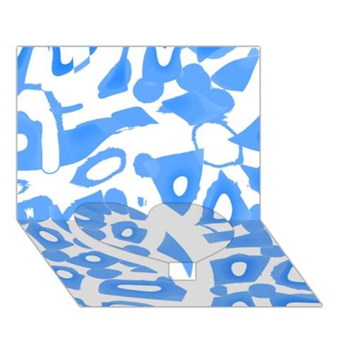 Blue summer design Heart Bottom 3D Greeting Card (7x5)