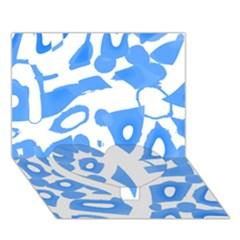 Blue summer design Heart Bottom 3D Greeting Card (7x5)