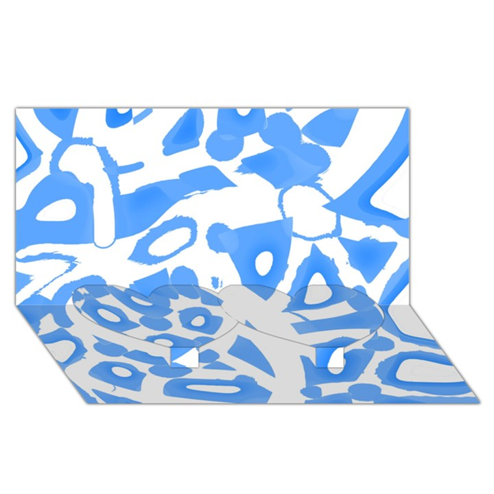 Blue summer design Twin Heart Bottom 3D Greeting Card (8x4)