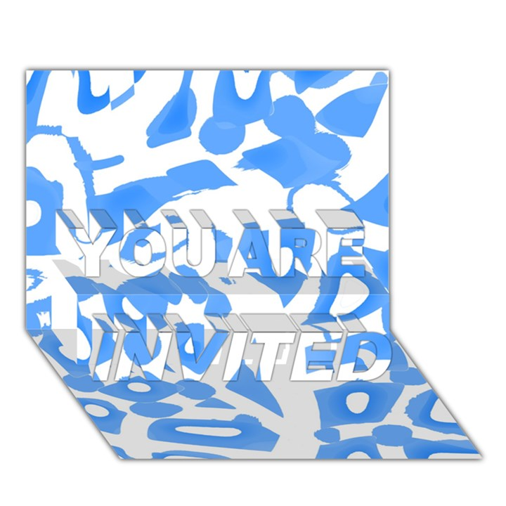 Blue summer design YOU ARE INVITED 3D Greeting Card (7x5)