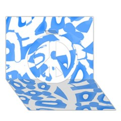 Blue summer design Peace Sign 3D Greeting Card (7x5)