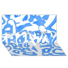 Blue summer design PARTY 3D Greeting Card (8x4)