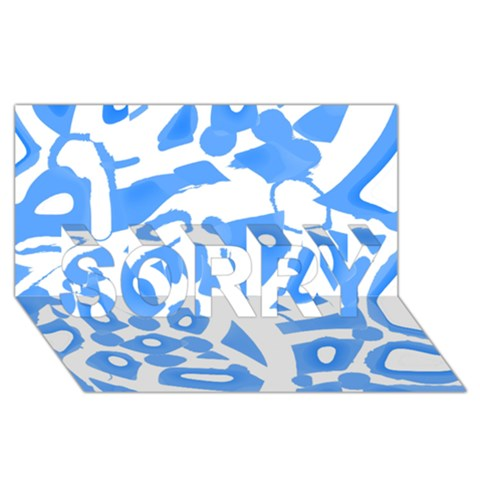 Blue summer design SORRY 3D Greeting Card (8x4)
