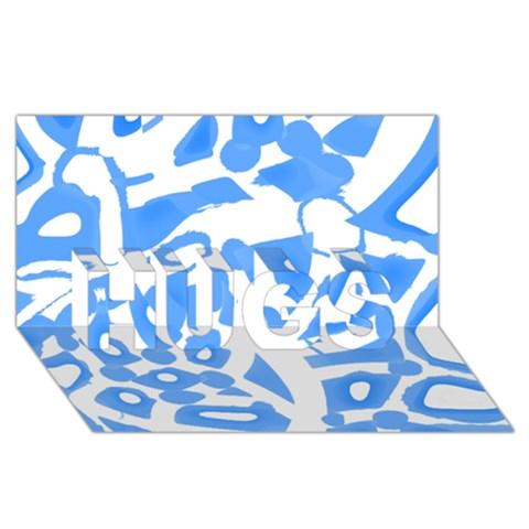 Blue summer design HUGS 3D Greeting Card (8x4)