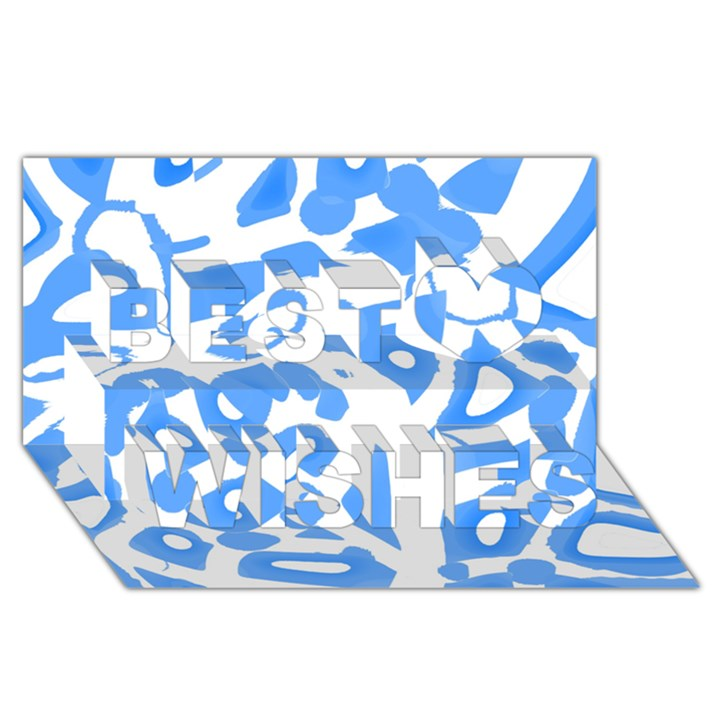 Blue summer design Best Wish 3D Greeting Card (8x4)