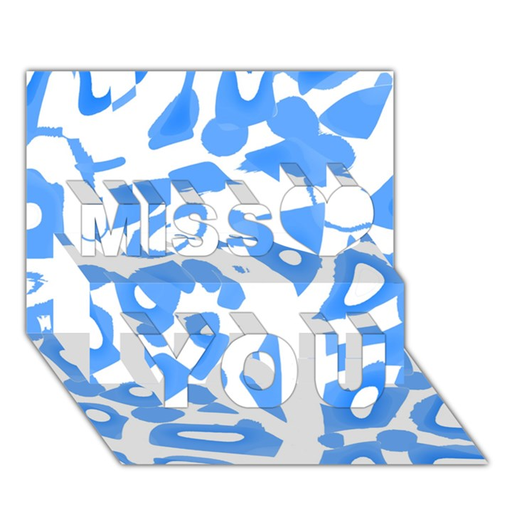 Blue summer design Miss You 3D Greeting Card (7x5)