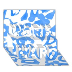 Blue Summer Design Work Hard 3d Greeting Card (7x5)