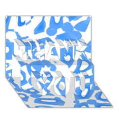 Blue Summer Design Thank You 3d Greeting Card (7x5)