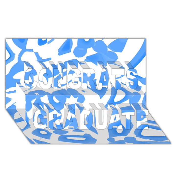Blue summer design Congrats Graduate 3D Greeting Card (8x4)