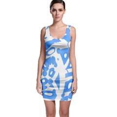Blue summer design Sleeveless Bodycon Dress