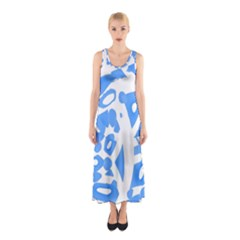 Blue Summer Design Sleeveless Maxi Dress
