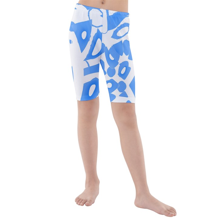 Blue summer design Kids  Mid Length Swim Shorts