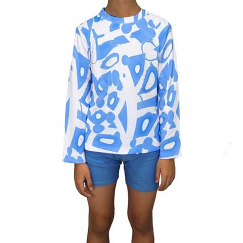 Blue summer design Kids  Long Sleeve Swimwear