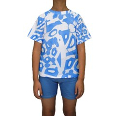 Blue summer design Kids  Short Sleeve Swimwear