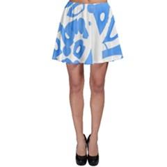 Blue summer design Skater Skirt
