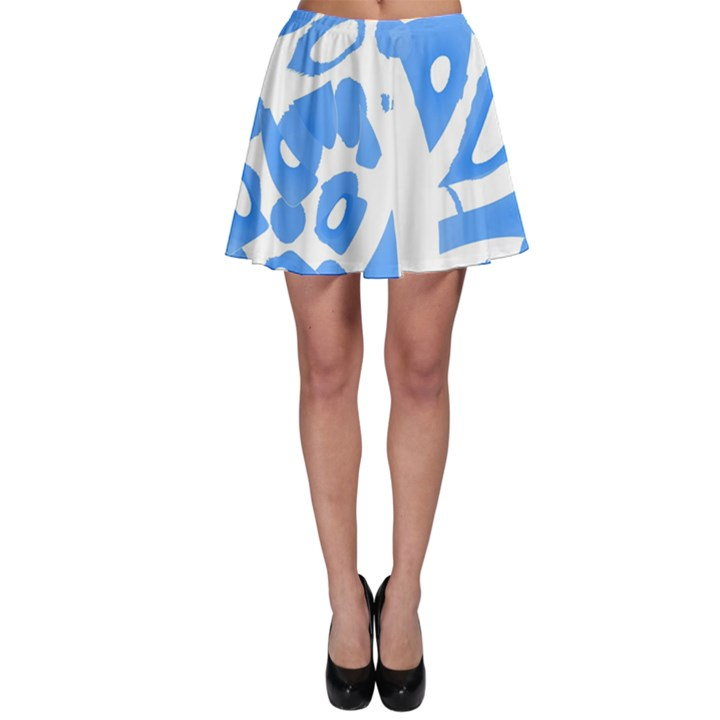 Blue summer design Skater Skirt
