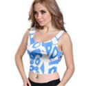 Blue summer design Crop Top View1