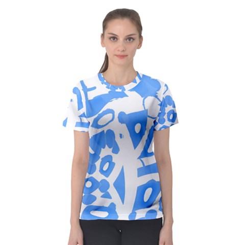 Blue summer design Women s Sport Mesh Tee