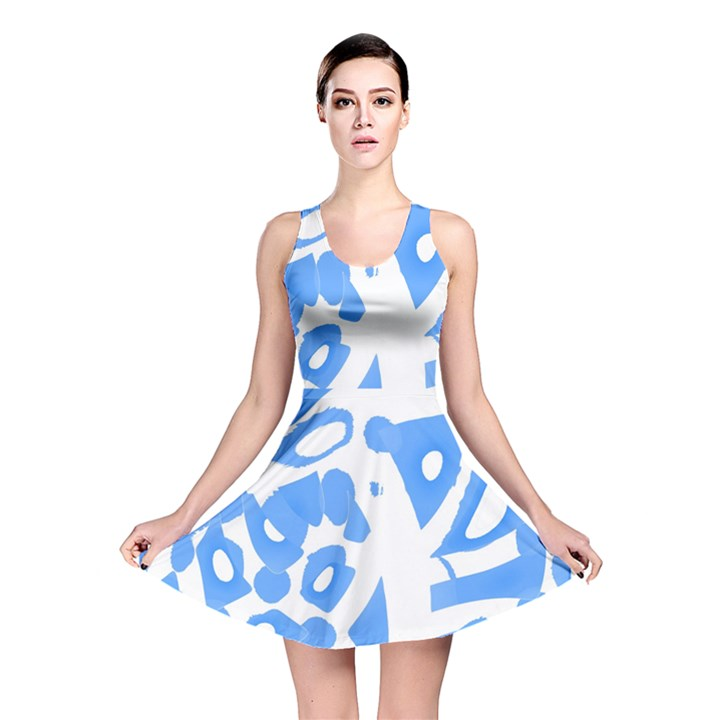 Blue summer design Reversible Skater Dress