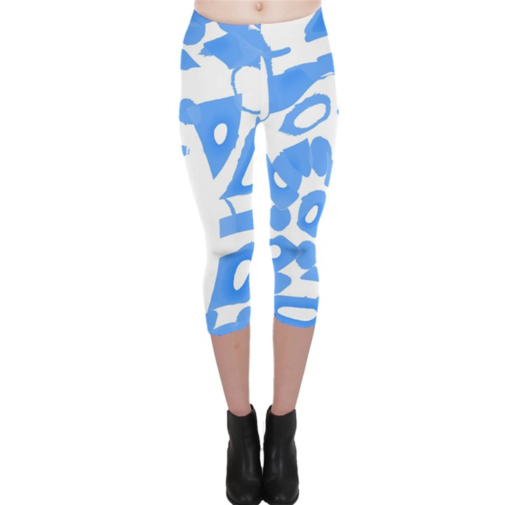 Blue summer design Capri Leggings