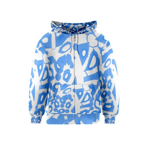 Blue summer design Kids  Zipper Hoodie