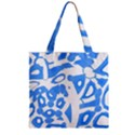 Blue summer design Zipper Grocery Tote Bag View2