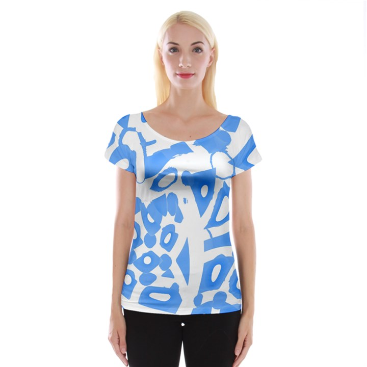 Blue summer design Women s Cap Sleeve Top