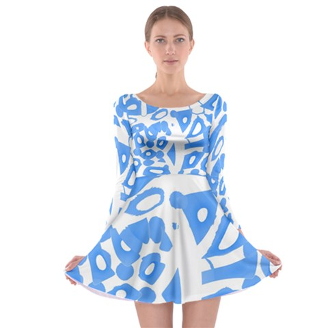 Blue summer design Long Sleeve Skater Dress