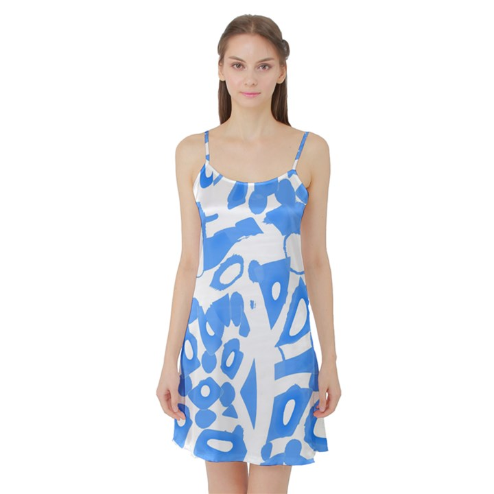 Blue summer design Satin Night Slip