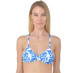 Blue summer design Reversible Tri Bikini Top