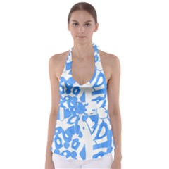 Blue Summer Design Babydoll Tankini Top