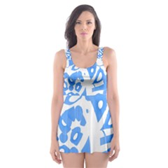 Blue Summer Design Skater Dress Swimsuit