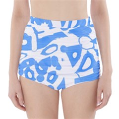 Blue summer design High-Waisted Bikini Bottoms