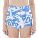 Blue summer design High-Waisted Bikini Bottoms View1