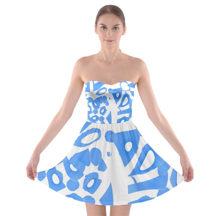 Blue summer design Strapless Bra Top Dress